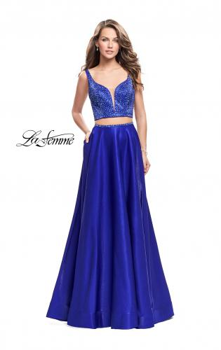 Picture of: Two Piece A-line Gown with Beading and Low Scoop Back, Style: 25939, Main Picture