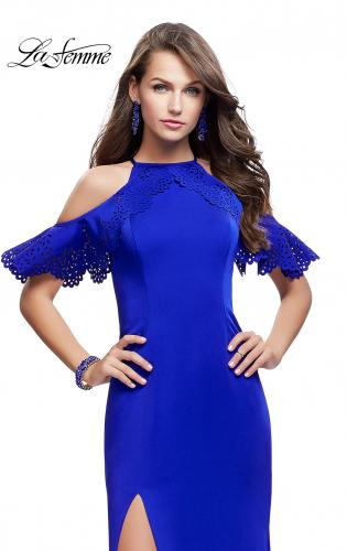 Picture of: Long Jersey Prom Dress with Laser Cut Outs and Ruffles, Style: 25981, Main Picture
