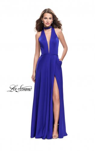 Picture of: Long Satin Prom Dress with Pockets and Beaded Choker, Style: 26154, Main Picture