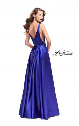 Picture of: Satin A line Prom Dress with Deep V Back, Style: 25455, Back Picture