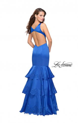 Picture of: Satin Prom Dress with Laser Cut Detail and Tulle Skirt, Style: 25749, Back Picture