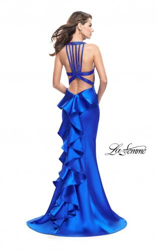Picture of: Mikado Mermaid Dress with Embellished High Neckline, Style: 25838, Back Picture