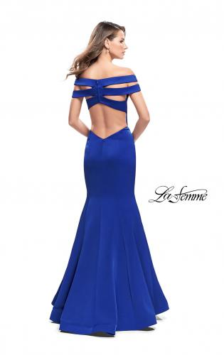 Picture of: Satin Off the Shoulder Mermaid Prom Dress with V Neck, Style: 25903, Back Picture