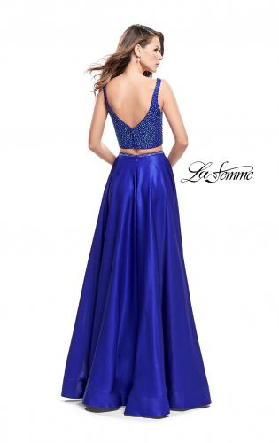 Picture of: Two Piece A-line Gown with Beading and Low Scoop Back, Style: 25939, Back Picture