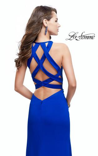 Picture of: High Neck Satin Gown with Leg Slit and Strappy Back, Style: 25962, Back Picture