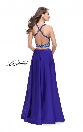 Picture of: Satin Two Piece Prom Dress with Beaded Trim, Style: 25978, Back Picture