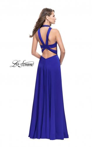 Picture of: Long Satin Prom Dress with Pockets and Beaded Choker, Style: 26154, Back Picture
