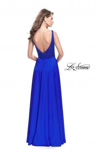 Picture of: Long Satin Prom Gown with Beaded Bodice and V Back, Style: 26275, Back Picture
