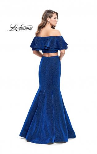 Picture of: Long Sparkling Off the Shoulder Jersey Prom Dress, Style: 26324, Back Picture
