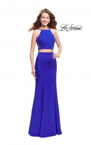 Picture of: Two Piece Jersey Prom Dress with High Neckline, Style: 25220, Detail Picture 1