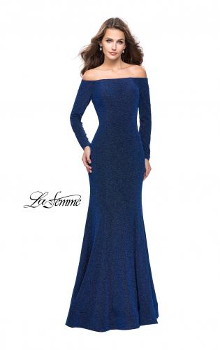 Picture of: Long Sleeve Off the Shoulder Prom Dress with Open Back, Style: 25412, Detail Picture 1