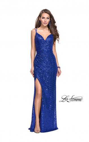 Picture of: Long Sequin Prom Dress with Side Ruching, Style: 25492, Detail Picture 1