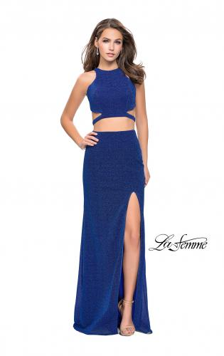 Picture of: Glittering Two Piece Jersey Prom Dress with Side Leg Slit, Style: 25572, Detail Picture 1