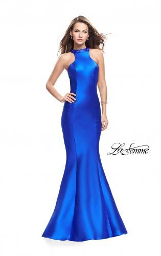 Picture of: Mikado Mermaid Dress with Embellished High Neckline, Style: 25838, Detail Picture 1