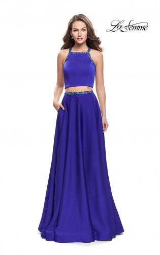 Picture of: Satin Two Piece Prom Dress with Beaded Trim, Style: 25978, Detail Picture 1