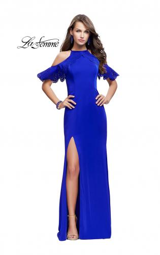 Picture of: Long Jersey Prom Dress with Laser Cut Outs and Ruffles, Style: 25981, Detail Picture 1