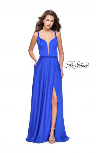Picture of: A-line Satin Prom Dress with Wrap Side Leg Slit, Style: 26329, Detail Picture 1