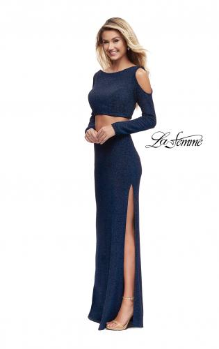 Picture of: Two Piece Cold Shoulder Prom Dress with Side Skirt Slit, Style: 25256, Detail Picture 2