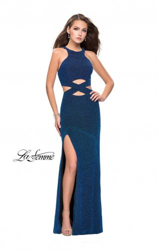Picture of: Long Jersey Prom Dress with Cut Outs and Low Scoop Back, Style: 25422, Detail Picture 2