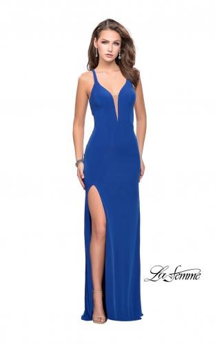 Picture of: Long Jersey Prom Dress with Lace Up Strappy Open Back, Style: 25504, Detail Picture 2