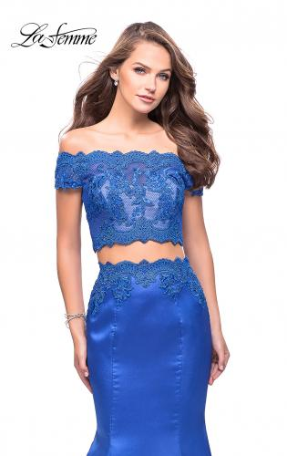 Picture of: Mikado Two Piece Prom Dress with Lace and Beading, Style: 25583, Detail Picture 2