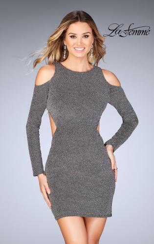 Picture of: Long Sleeve Short Dress with Shoulder Cut Outs, Style: 25306, Main Picture