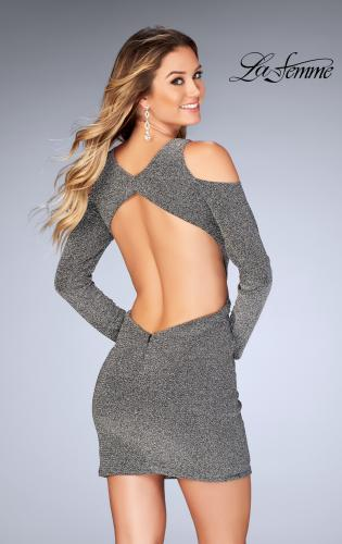 Picture of: Long Sleeve Short Dress with Shoulder Cut Outs, Style: 25306, Back Picture
