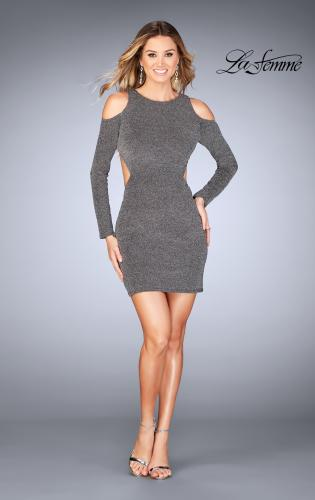 Picture of: Long Sleeve Short Dress with Shoulder Cut Outs, Style: 25306, Detail Picture 2