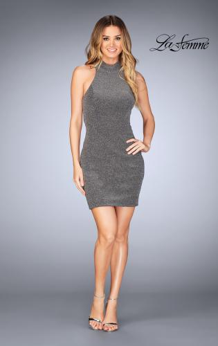 Picture of: Short Sparkly Jersey Dress with Keyhole Back, Style: 25367, Detail Picture 2