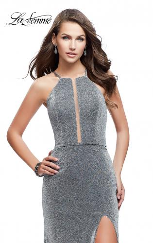 Picture of: Sparkling Jersey Prom Dress with High Neck and Slit, Style: 25769, Main Picture