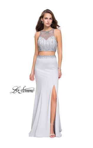Picture of: Beaded Two Piece Prom Dress with Open Back, Style: 26063, Main Picture