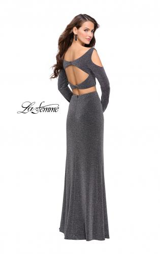 Picture of: Two Piece Cold Shoulder Prom Dress with Side Skirt Slit, Style: 25256, Back Picture