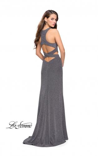 bdf91b1dad76 La Femme 25422. Long Jersey Prom Dress with Cut Outs and Low Scoop Back