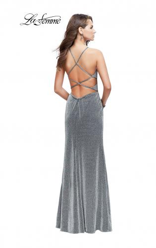 Picture of: Sparkling Jersey Prom Dress with High Neck and Slit, Style: 25769, Back Picture
