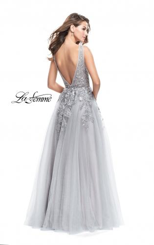 Picture of: A-line Tulle Prom Dress with Floral Lace Applique, Style: 26353, Back Picture