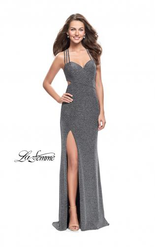 Picture of: Sparkly Jersey Dress with Side Cut Outs and Strappy Back, Style: 25258, Detail Picture 1