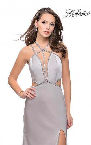 Picture of: Form Fitting Gown with Metallic Embellishments and Slit, Style: 25508, Detail Picture 1