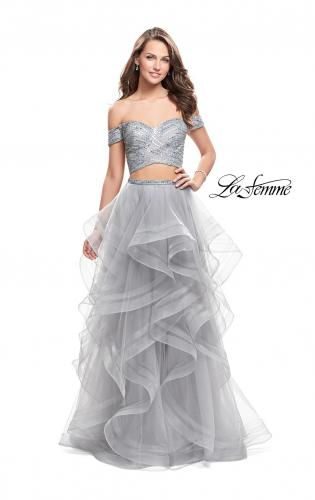 Picture of: Off the Shoulder A-line Gown with Ruffle Tulle Skirt, Style: 26169, Detail Picture 1