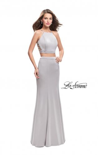 Picture of: Two Piece Jersey Prom Dress with High Neckline, Style: 25220, Detail Picture 2