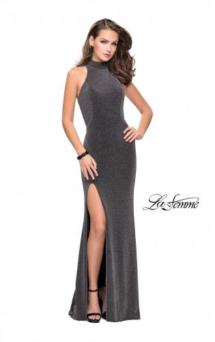 Picture of: Sparkly Jersey Long Dress with High Neckline and Front Slit, Style: 25404, Detail Picture 2