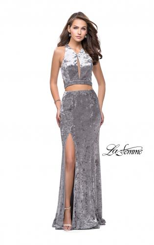 Picture of: Long Velvet Prom Dress with Crop Top and Leg Slit, Style: 25500, Detail Picture 2