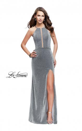 Picture of: Sparkling Jersey Prom Dress with High Neck and Slit, Style: 25769, Detail Picture 2