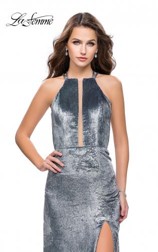 Picture of: Long Velvet Prom Dress with Leg Slit and Open Back, Style: 25861, Detail Picture 2