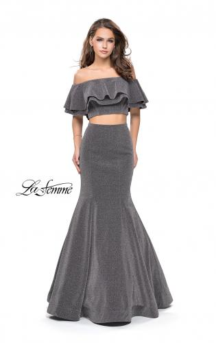 Picture of: Long Sparkling Off the Shoulder Jersey Prom Dress, Style: 26324, Detail Picture 2