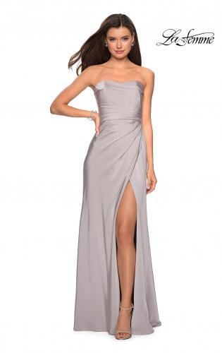 Picture of: Strapless Jersey Prom Dress with Ruching and Slit, Style: 26794, Detail Picture 2