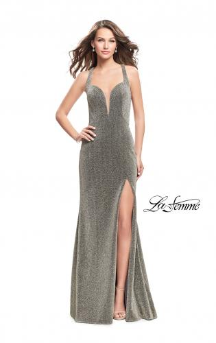 Picture of: Form Fitting Jersey Gown with Leg Slit and Open Back, Style: 25901, Main Picture