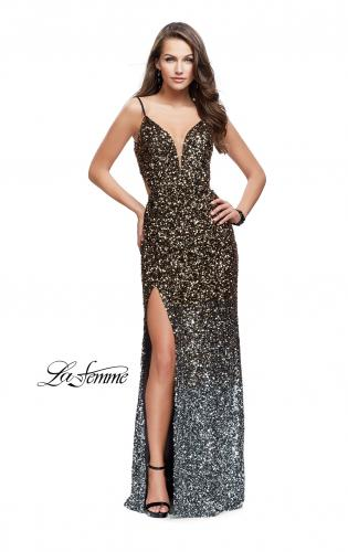 Picture of: Long Ombre Sequin Prom Dress with Side Leg Slit, Style: 26000, Main Picture