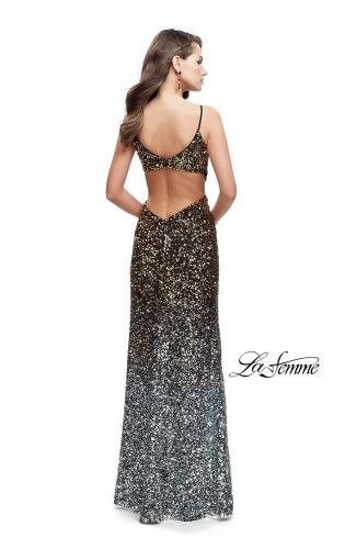 Picture of: Long Ombre Sequin Prom Dress with Side Leg Slit, Style: 26000, Back Picture
