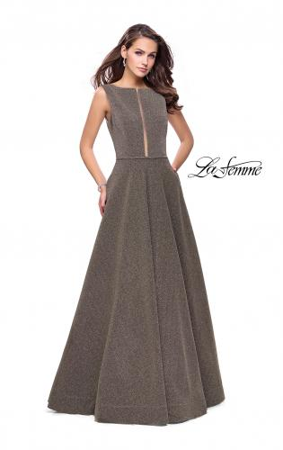 Picture of: High Neck Sparkling A-line Dress with Strappy Open Back, Style: 25895, Detail Picture 1