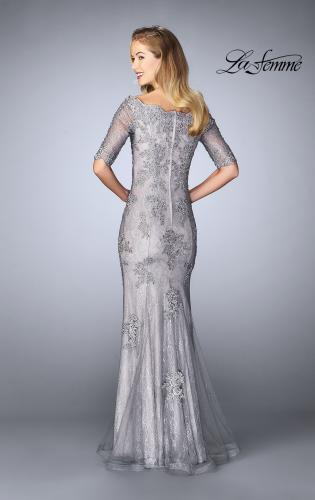 Picture of: Long Prom Gown with Scattered Lace Overlay, Style: 24866, Back Picture